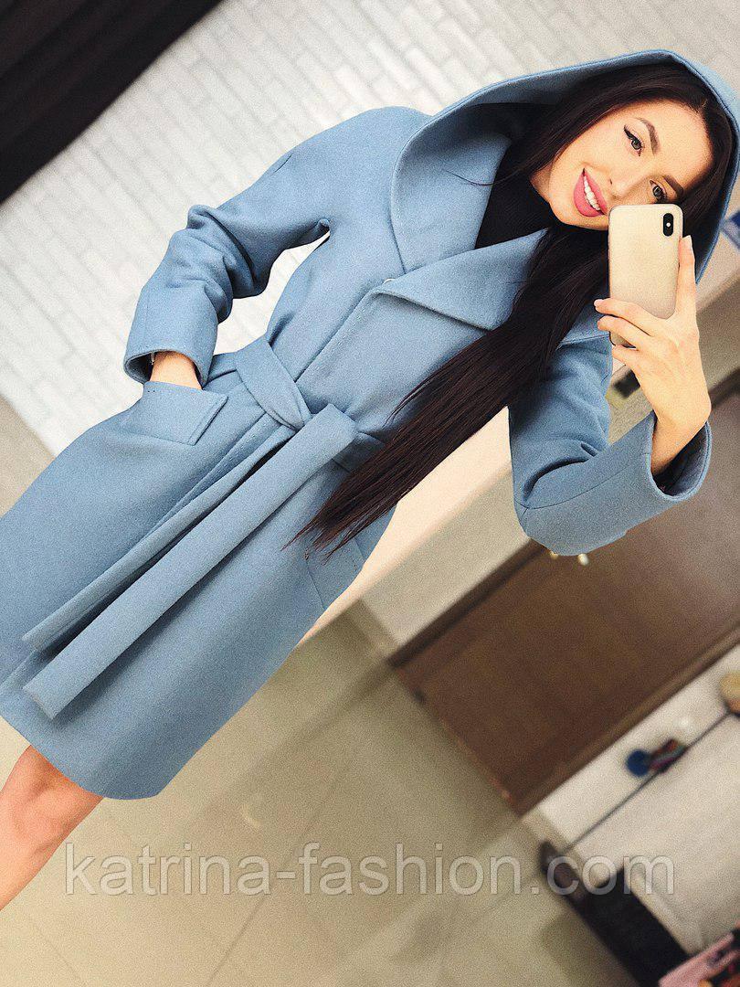 "Стильне жіноче демісезонне пальто кашемірове з капюшоном ""Gloria"" (3 кольори)"