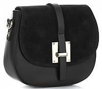 Модная женская сумочка Vera Pelle из натуральной кожи и замши, Made in Italy черного цвета