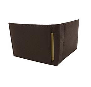 Мужской кошелек -  портмоне  BI- FOLD из натуральной кожи генуя коричневый, фото 2