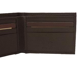 Мужской кошелек -  портмоне  BI- FOLD из натуральной кожи генуя коричневый