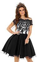 Черно-белое вечернее платье А-силуэт