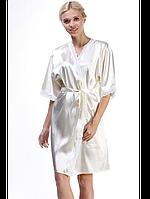 Белый женский халат из шелка, фото 1