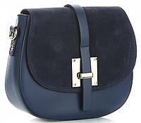 Модная женская сумочка Vera Pelle из натуральной кожи и замши, Made in Italy темно-синего цвета