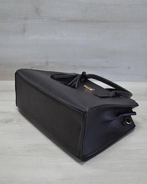 Молодежная каркасная женская сумка черная из кожзама 52011, фото 2