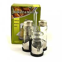 Набор для специй  перец + соль+салфетница+зубочистка на нержавеющей подставке Helios (6075)