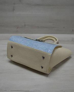 Молодежная женская сумка Ременьголубой крокодил с бежевым гладким кожзамом 52904, фото 2