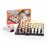 Шахматы 9841 (48шт) магнитные, 4в1,(шашки, нарды, карты), в кор-ке,25-13-3,5см B-9841, настольная игра