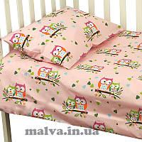 """Комплект для новорожденных  Руно™  """"Совы""""Розовый"""