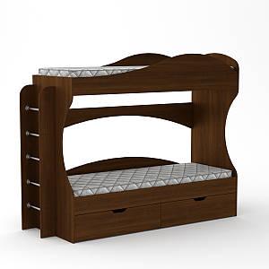 Двухъярусная детская кровать Бриз Компанит 210х75 см с двумя ящиками из лдсп