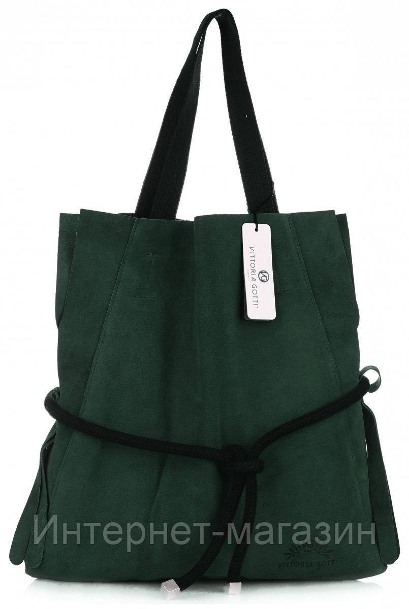 914e0da2f5f6 Оригинальная женская сумка Vittoria Gotti из натуральной замши, Made in  Italy зеленого цвета - Интернет