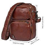Коричнева шкіряна сумка через плече з шкіри 1010B, фото 10