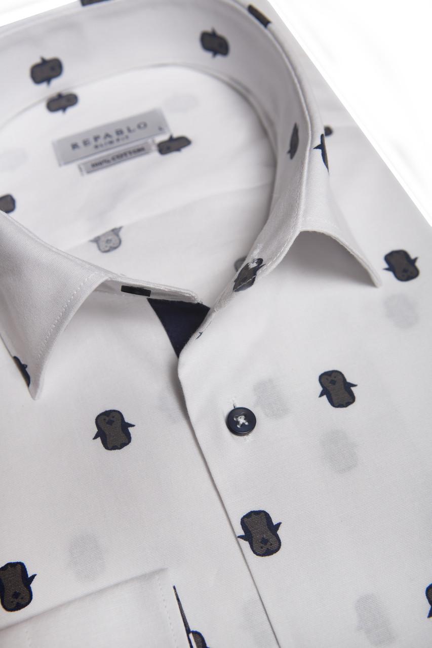 Белая рубашка с узором пингвинов KS 1773-1 разм. XXL