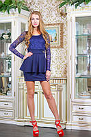 Платье с гипюровым верхом АНАБЕЛЬ темно-синий L