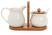 Белый Фарфоровый набор молочник+ сахарница на бамбуковой подставке