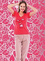 Женский комплект футболка+капри батал 4129 2XL