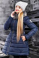 Красивая женская зимняя куртка 2353 синий