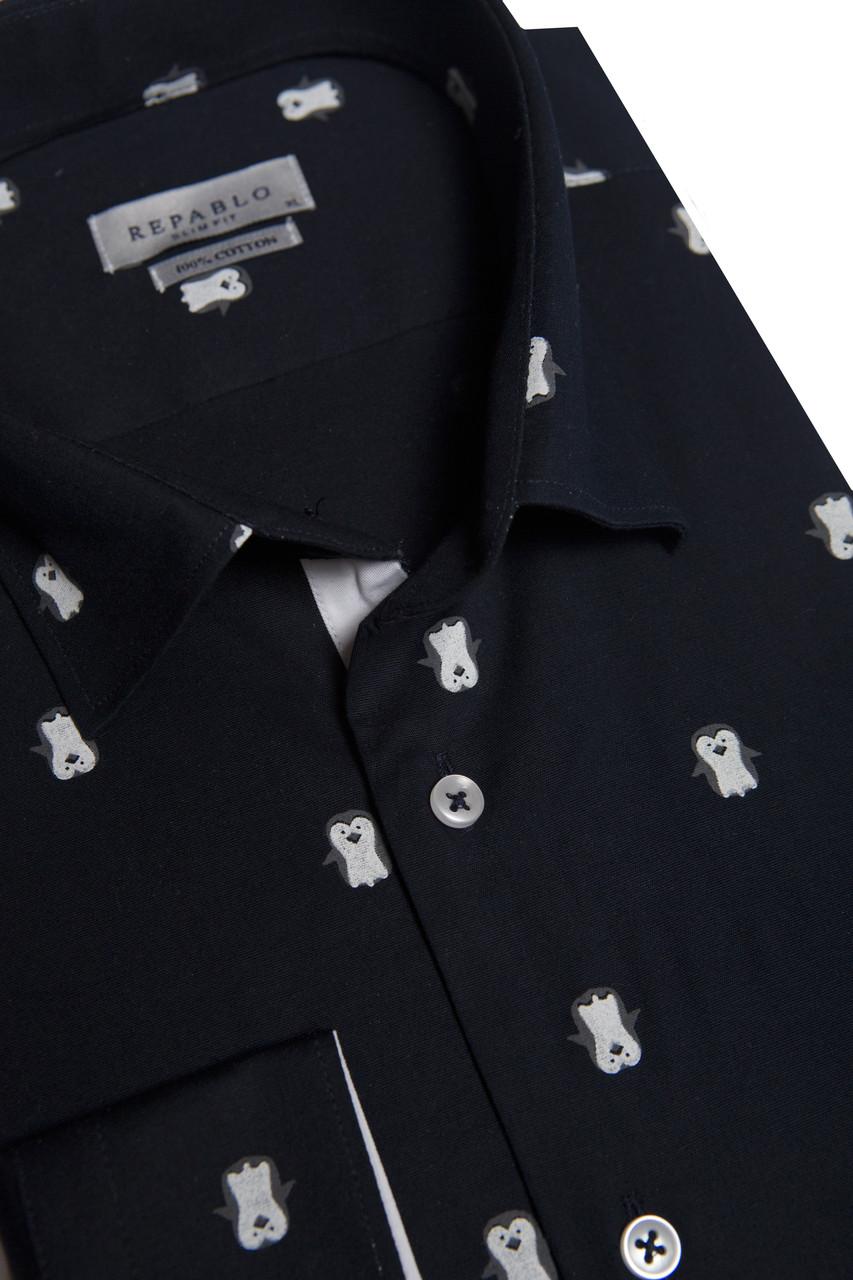 Темно-синяя рубашка с узором пингвинов KS 1773-2 разм. M