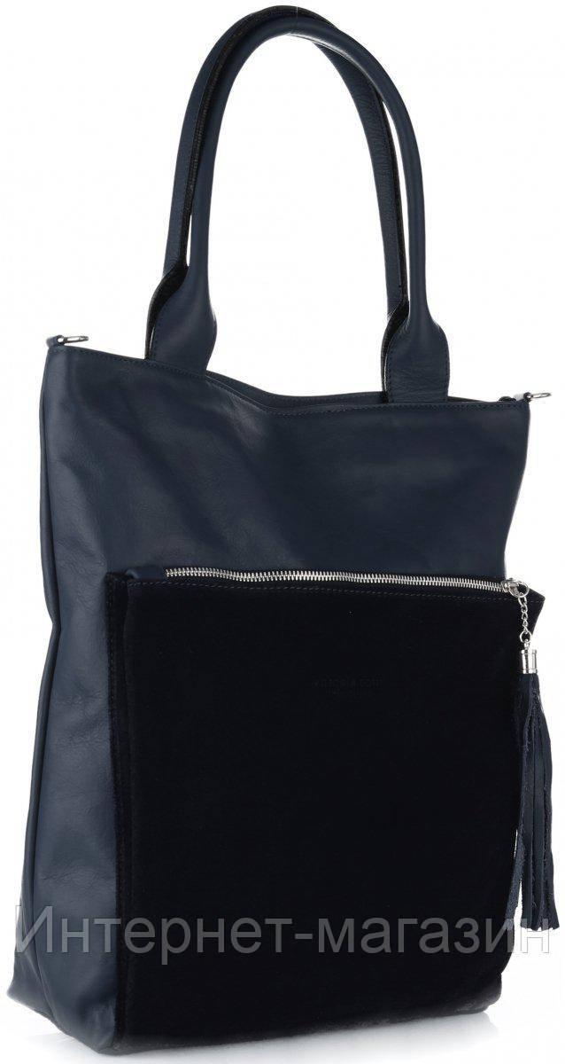 225733990457 Интересная женская сумка VITTORIA GOTTI из натуральной кожи, Made in Italy  темно-синего цвета