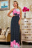 Красивое  летнее молодежное  платье 2237темно-синее XXL-3XL