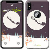 """Чехол на iPhone X Упряжка с новогодними оленями """"4189c-1050-8079"""""""