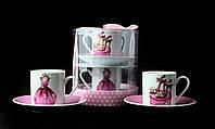 Подарочный Кофейный Фарфоровый Набор Со Стразами 4 Предмета: 2 Чашки 80мл + 2 Блюдца