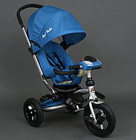 Трехколёсный детский велосипед колясочного типа Best Trike 698 голубой, резина