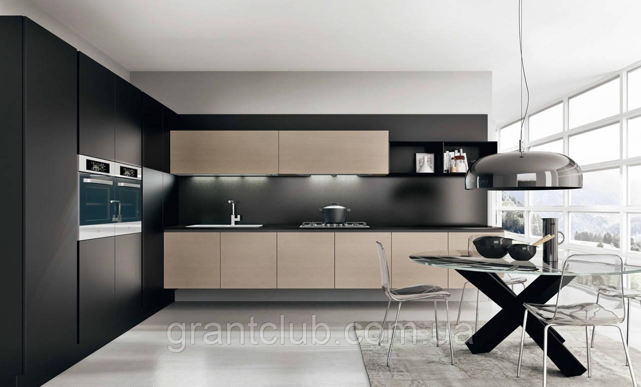 Сучасна італійська кухня без ручок і шпонованим фасадом OMICRON 22 WOOD фабрика Armony Cucine