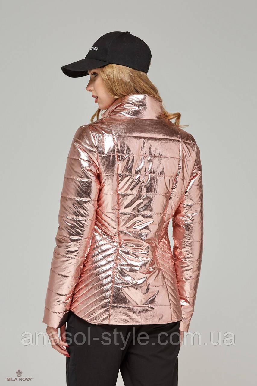 afc5e5184092 Куртка-плащ стеганая демисезонная металлик розовый