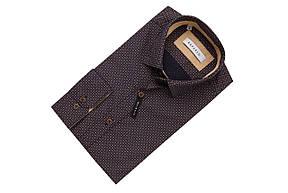 Темно-синяя рубашка с бежевым узором KS 1765-1 разм. S, фото 2