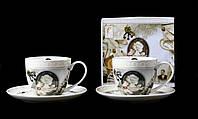 """Подарочный Чайный Фарфоровый Набор """"Камея"""" 4 Предмета: 2 Чашки 280мл + 2 Блюдца, фото 1"""