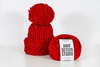 Шапка вязаная c отворотом и помпоном XXL Pom Pom Hat, цвет Красный, фото 1