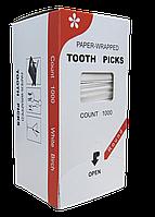 Зубочистка в индивидуальной упаковке 1000шт. Бамбук