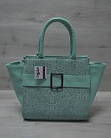 Молодежная женская сумка Ремень ментоловый крокодил с ментоловым гладким кожзамом 52903