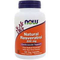 Now Foods, Натуральный ресвератол, 200 мг, 120 растительных капсул