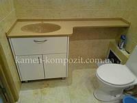 """Столешница для ванной комнаты  """" Камелия"""" желтая"""