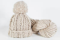 Объемная вязаная шапка с помпоном, цвет Песок
