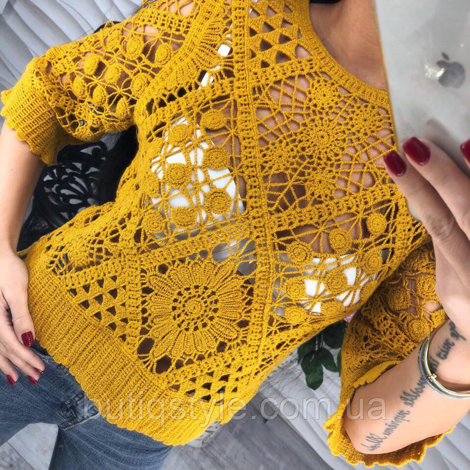 Элегантная модная блузка с кружевом макраме пудра, черная, белая, зеленая, желтый