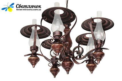 люстра в стиле лофт деревянная керосинка темный дуб на 5 ламп
