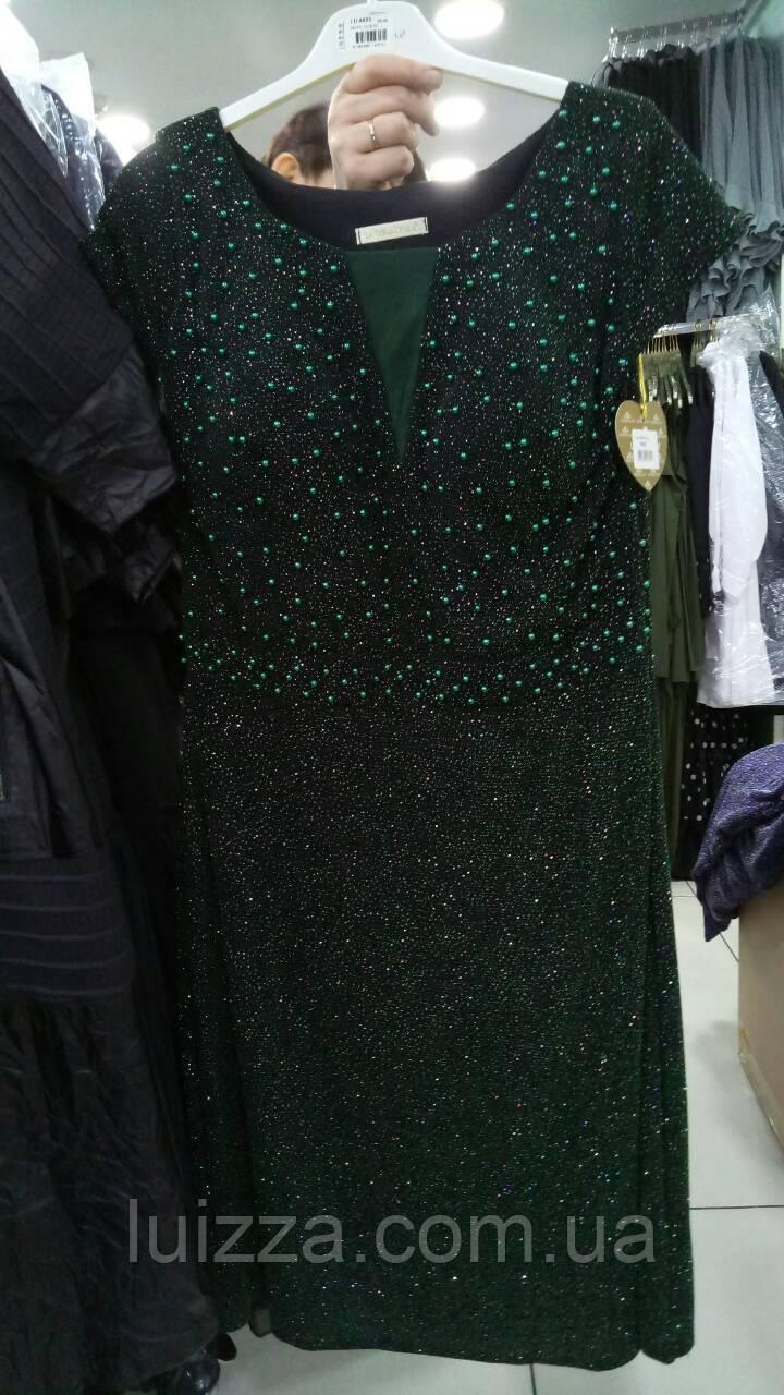 Нарядное платье из Турции  украшено камнями и жемчужинками 50- 56 рр зеленое