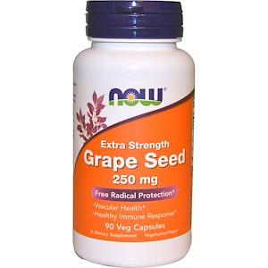 Now Foods, Виноградная косточка, дополнительная сила, 250 мг, 90 вегетарианских капсул