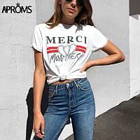 Женская футболка MERCI хлопок с добавкой