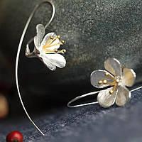 """Красивые серебренные серьги """"Фрезия"""" 925, фото 1"""