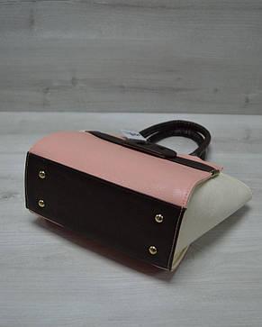 Молодежная женская сумка комбинированная пудрового цвета с коричневым ремнем 52209, фото 2