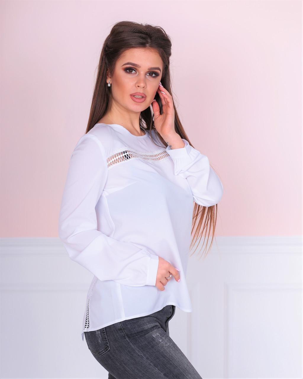 0afc5fe09ed Блузка с кружевными вставками. Белая