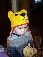 """Вязанная детская шапка """"Мишка"""""""