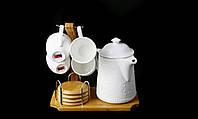 """Подарочный Кофейный Набор """"Naturel"""" 1 Чайник 950мл + 4 Чашки 130мл С Костерами На Бамбуковой Подставке"""