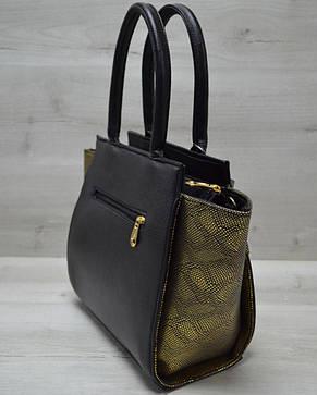 Молодежная женская сумка комбинированная черного цвета с золотым ремнем 52206, фото 2