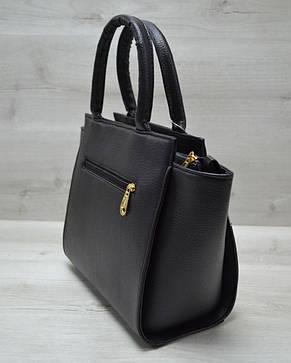 Молодежная женская сумка комбинированная черного цвета с коричневым барбери ремнем 52205, фото 2