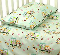 """Постельный набор в кроватку для новорожденных  Руно™  """"Совы"""" Бирюзовый"""