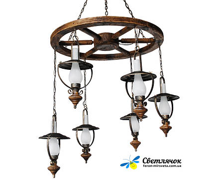 люстра в стиле лофт деревянная керосинка колесо ретро на 6 ламп